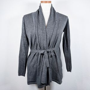 Zara Knit Cardigan Sweater With Tie Gray Size S